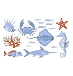 Stylized underwater nature set of icons vector