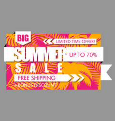 summer sale banner with tropical exotic palm vector image vector image