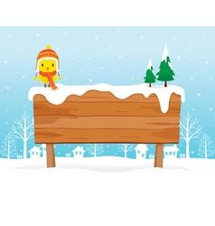 Wooden Signboard On Snowdrift vector image