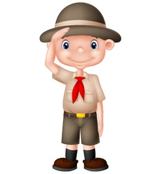 Young boyscout doing a hand sign vector image vector image
