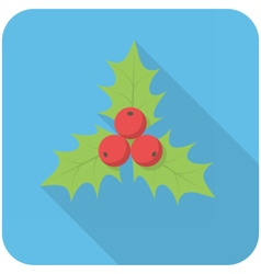 Christmas holly icon vector