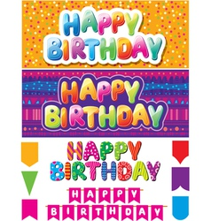 Set of colorful happy birthday texts vector