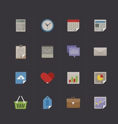 Business metro retro icon set vector