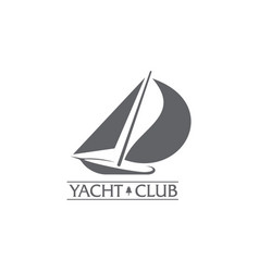Graphic yacht club sailing sport logo with wind vector