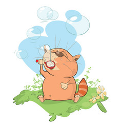 Cute cat blowing bubbles vector