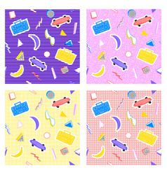Memphis set pattern different backgrounds vector