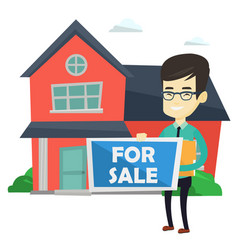 Young asian realtor offering house vector