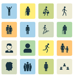People icons set collection of jogging family vector