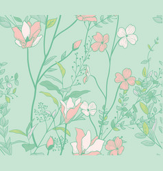 Seamless pattern with watercolor flowers branches vector