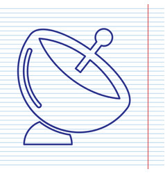 satellite dish sign navy line icon on vector image