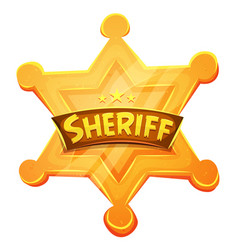 sheriff marshal star gold medal icon vector image