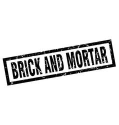 Square grunge black brick and mortar stamp vector