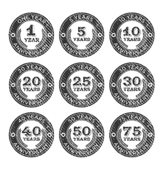 Grunge anniversary stamps emblem vector
