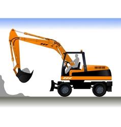 Wheel Excavator vector image