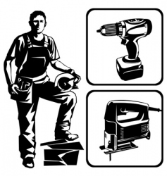 worker and tools vector image