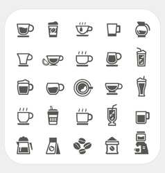 Coffee and tea cup icons set vector