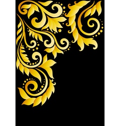 Golden floral ornament with leaves and swirls vector