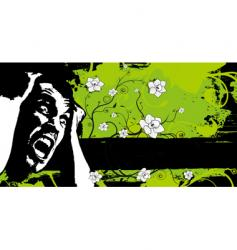 Grunge floral fear banner vector