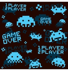 Black space invaders pattern vector