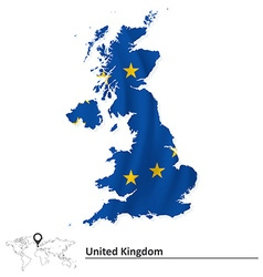 Map of united kingdom with european union flag vector