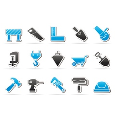 Construction industry and tools icons vector