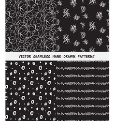 Hand drawn seamless patterns set vector