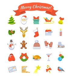 Christmas symbols flat icons set vector