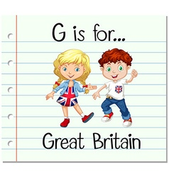 Flashcard letter g is for great britain vector