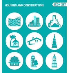 Set of round icons white housing and construction vector