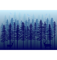 Blue winter forest vector