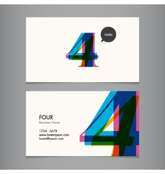 business card with number 4 vector image