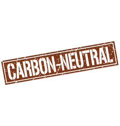 Carbon-neutral square grunge stamp vector