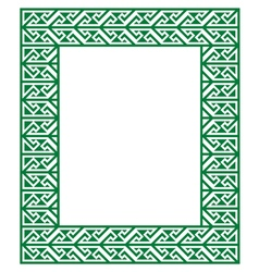Celtic Key Pattern - green frame border vector image vector image