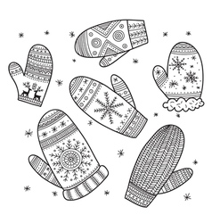 Christmas boho mittens set vector