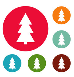 christmas tree icons circle set vector image