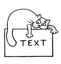 Cute cat lies on the frame and stretches its paw vector