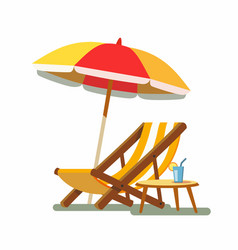 Deckchair and umbrella on the beach vector