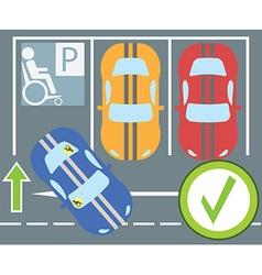 Flat design modern of parking a car instruction vector