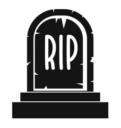 gravestone with rip text icon simple style vector image vector image