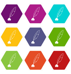 ink with pen icon set color hexahedron vector image
