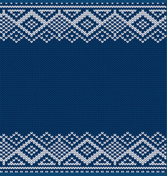 knitted blue christmas geometric ornament winter vector image
