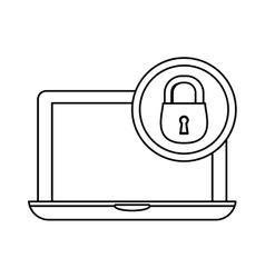 laptop lock server banner icon vector image