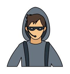 Male hacker avatar icon image vector