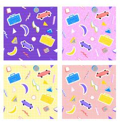 Memphis set pattern different backgrounds vector