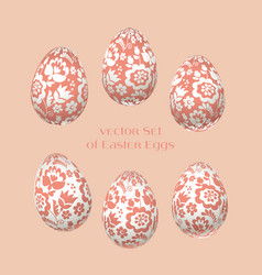 pale rosy easter egg decoration floral folk-style vector image vector image