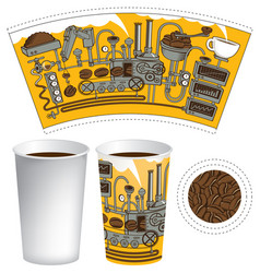 paper cup for hot drink with retro coffee machine vector image
