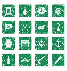 Pirate icons set grunge vector