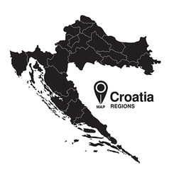 Regions of Croatia map vector image vector image