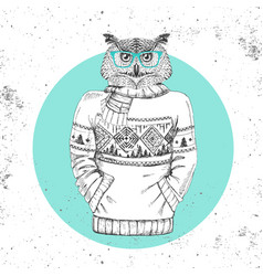Retro hipster bird owl dressed in pullover vector