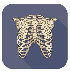 ribs flat icon navyblue vector image
